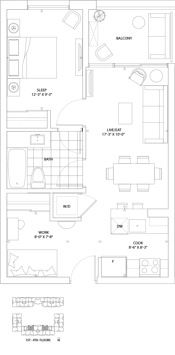 Boathouse 1 Bed + den 691-708 SQ. FT. TOTAL LIVING SPACE