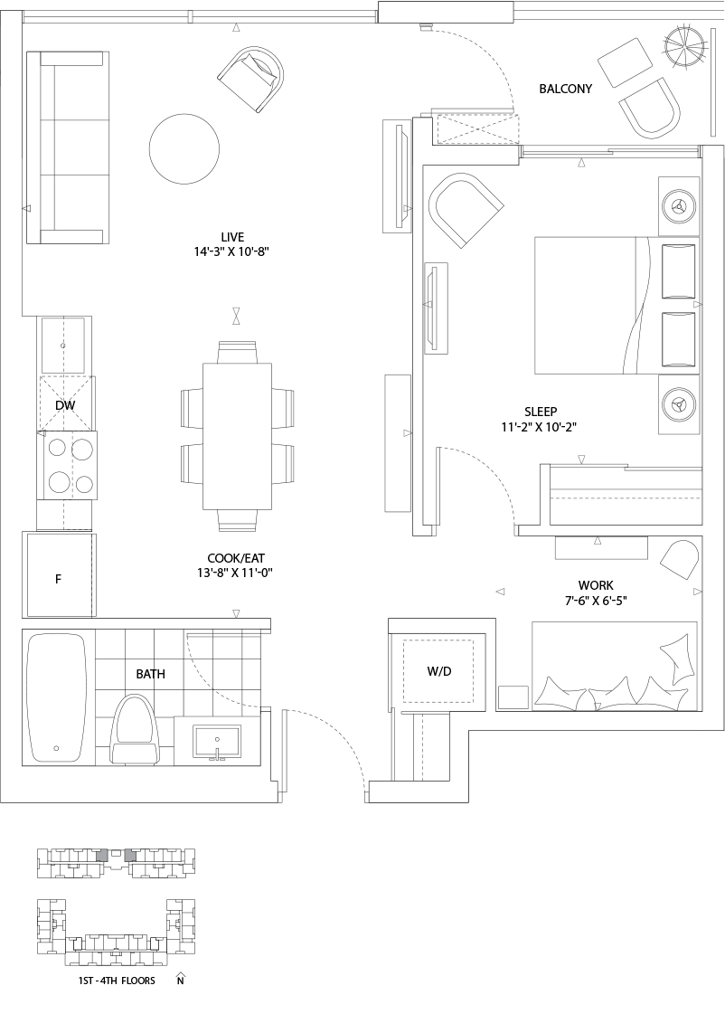 Boathouse 1 Bed + den 752 SQ. FT. TOTAL LIVING SPACE