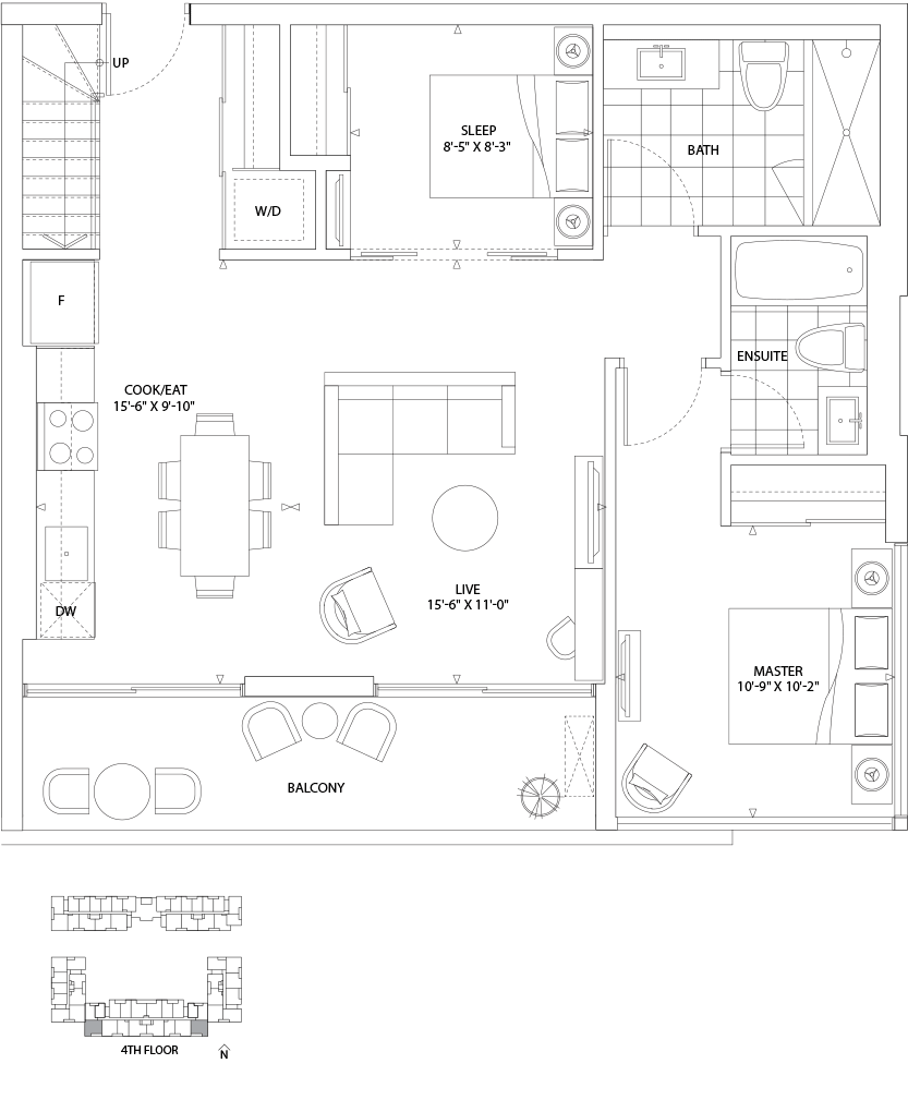 Boathouse 2 Bed 986 SQ. FT. TOTAL LIVING SPACE